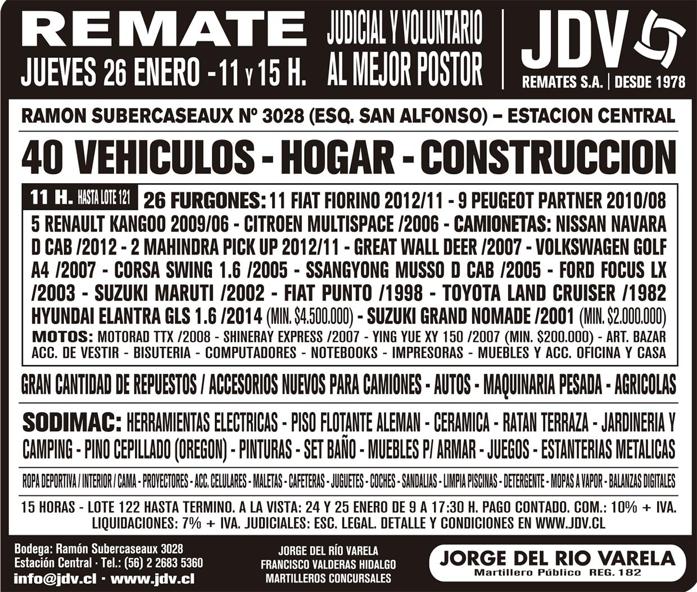Jdv Remate Al Mejor Postor 26 01 2017 # Muebles Subercaseaux